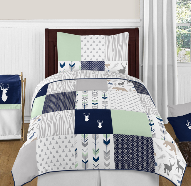 Navy Blue, Mint And Grey Woodsy Deer 4pc Twin Boy Bedding Set By Sweet Jojo  Designs Only $99.99