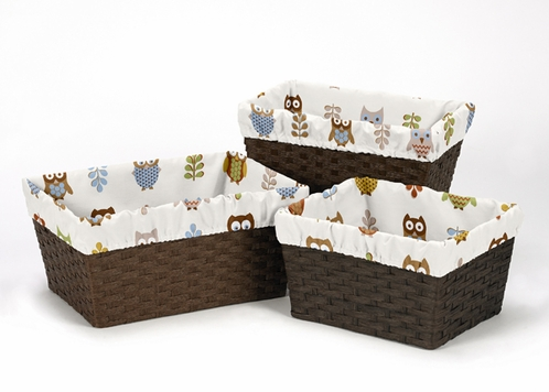Set of 3 One Size Fits Most Basket Liners for Night Owl Bedding Sets - Click to enlarge