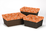 Set of 3 One Size Fits Most Basket Liners for Orange and Navy Arrow Bedding Sets
