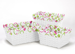 Set of 3 One Size Fits Most Basket Liners for Pink and Green Mod Circles Bedding Sets