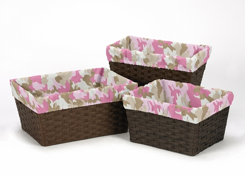 Set of 3 One Size Fits Most Basket Liners for Pink and Khaki Camo Bedding Sets - Click to enlarge