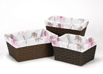 Set of 3 One Size Fits Most Basket Liners for Pink and Taupe Mod Elephant Bedding Sets