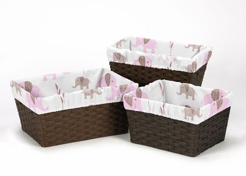 Set of 3 One Size Fits Most Basket Liners for Pink and Taupe Mod Elephant Bedding Sets - Click to enlarge