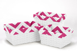 Set of 3 One Size Fits Most Basket Liners for Pink and White Chevron Bedding Sets