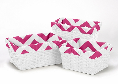 Set of 3 One Size Fits Most Basket Liners for Pink and White Chevron Bedding Sets - Click to enlarge