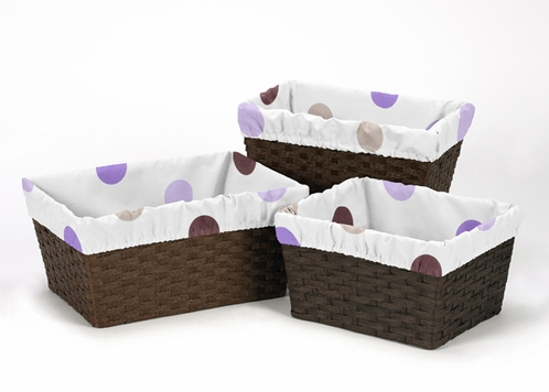 Set of 3 One Size Fits Most Basket Liners for Purple and Chocolate Mod Dots Bedding Sets - Click to enlarge