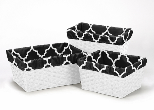 Set of 3 One Size Fits Most Basket Liners for Red and Black Trellis Bedding Sets - Click to enlarge