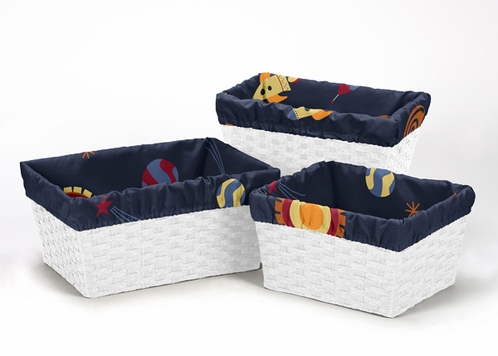 Set of 3 One Size Fits Most Basket Liners for Space Galaxy Bedding Sets - Click to enlarge