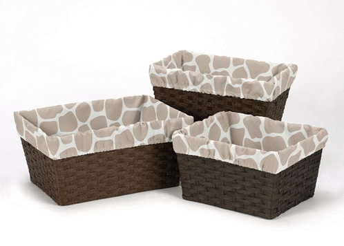 Set of 3 One Size Fits Most Basket Liners for Taupe and Off-White Giraffe Bedding Sets - Click to enlarge