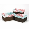 Set of 3 One Size Fits Most Basket Liners for Turquoise and Coral Emma Bedding Sets