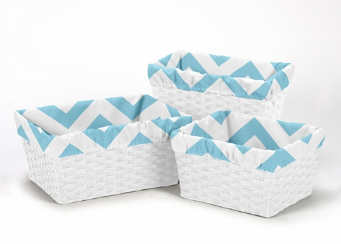 Set of 3 One Size Fits Most Basket Liners for Turquoise and White Chevron Bedding Sets - Click to enlarge