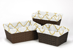 Set of 3 One Size Fits Most Basket Liners for White and Gold Trellis Bedding Sets by Sweet Jojo Designs