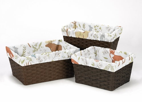 Set of 3 One Size Fits Most Basket Liners for Woodland Animal Toile Bedding Sets by Sweet Jojo Designs - Click to enlarge