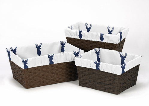Set of 3 One Size Fits Most Basket Liners for Navy and White Woodland Deer Bedding Sets by Sweet Jojo Designs - Click to enlarge