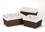 Set of 3 One Size Fits Most Damask Print Basket Liners for Amelia Bedding Sets