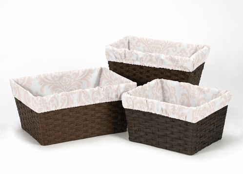 Set of 3 One Size Fits Most Damask Print Basket Liners for Amelia Bedding Sets - Click to enlarge