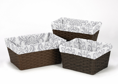 Set of 3 One Size Fits Most Damask Print Basket Liners for Skylar Bedding Sets - Click to enlarge