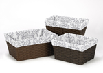 Set of 3 One Size Fits Most Damask Print Basket Liners for Skylar Bedding Sets