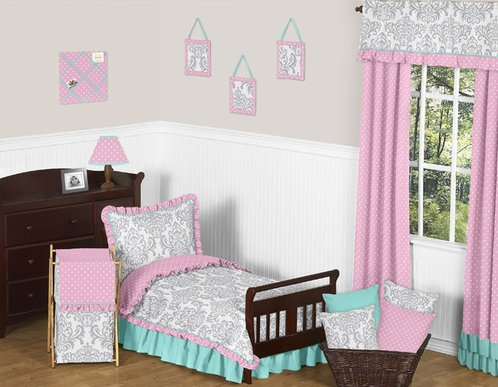 Pink Gray and Turquoise Skylar Toddler Bedding - 5pc Girls Set by Sweet Jojo Designs - Click to enlarge