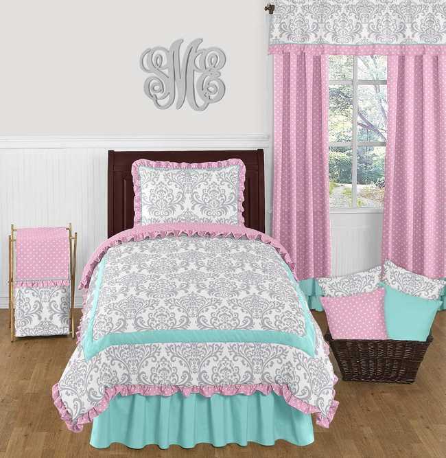 Delicieux Pink, Gray And Turquoise Skylar 4pc Twin Girls Bedding Set By Sweet Jojo  Designs Only $119.99
