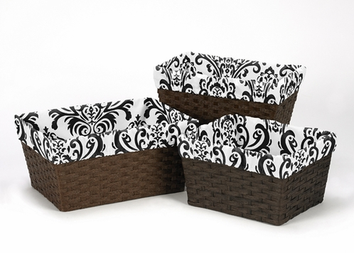 Set of 3 One Size Fits Most Damask Print Basket Liners for Sloane Bedding Sets - Click to enlarge