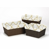 Set of 3 One Size Fits Most Gold and White Trellis Print Basket Liners for Ava Bedding Sets by Sweet Jojo Designs