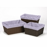 Set of 3 One Size Fits Most Lavender and White Polka Dot Basket Liners for Sloane Bedding Sets