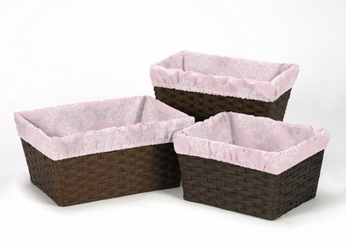 Set of 3 One Size Fits Most Pink and Gray Damask Basket Liners for Alexa Bedding Sets - Click to enlarge
