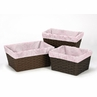 Set of 3 One Size Fits Most Pink and Gray Damask Basket Liners for Alexa Bedding Sets