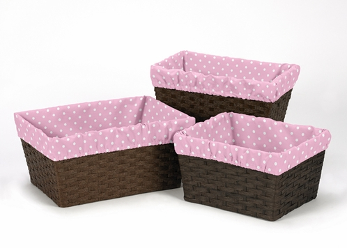 Set of 3 One Size Fits Most Pink and White Polka Dot Basket Liners for Skylar Bedding Sets - Click to enlarge