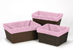 Set of 3 One Size Fits Most Pink and White Polka Dot Basket Liners for Skylar Bedding Sets