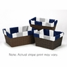 Set of 3 One Size Fits Most Stripe Print Basket Liners for Navy and Gray Stripe Bedding Sets