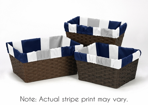 Set of 3 One Size Fits Most Stripe Print Basket Liners for Navy and Gray Stripe Bedding Sets - Click to enlarge