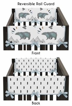 Side Crib Rail Guards Baby Teething Cover Protector Wrap for Bear Mountain Watercolor Collection by Sweet Jojo Designs - Set of 2