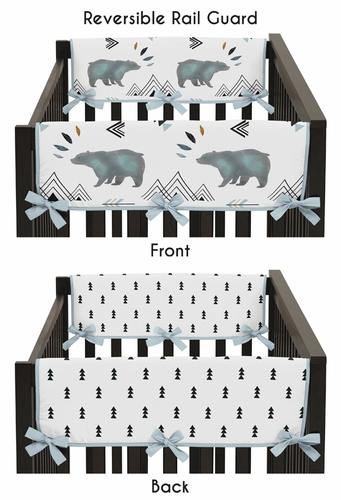 Side Crib Rail Guards Baby Teething Cover Protector Wrap for Bear Mountain Watercolor Collection by Sweet Jojo Designs - Set of 2 - Click to enlarge