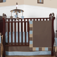 Soho Blue and Brown Crib Bedding - 11pc Set
