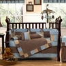 Soho Blue and Brown Crib Bedding - 9 pc Set