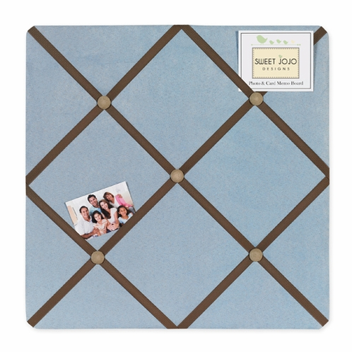 Soho Blue and Brown Fabric Memory/Memo Photo Bulletin Board - Click to enlarge