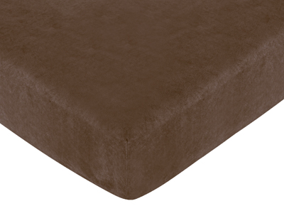 Soho Blue and Brown Fitted Crib Sheet for Baby and Toddler Bedding Sets by Sweet Jojo Designs - Chocolate Brown Microsuede - Click to enlarge
