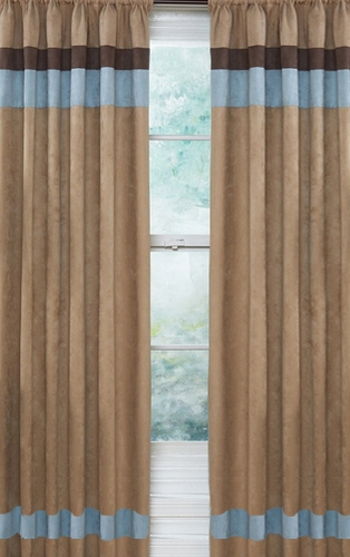 Soho Blue and Brown Window Treatment Panels - Set of 2 - Click to enlarge