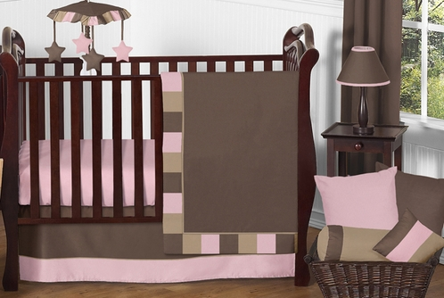 Soho Pink And Brown Baby Bedding   11pc Crib Set   Click To Enlarge