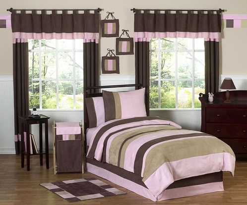 Soho Pink and Brown Children's Bedding - 4 pc Twin Set - Click to enlarge