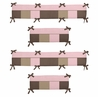 Soho Pink and Brown Collection Crib Bumper by Sweet Jojo Designs