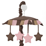 Soho Pink and Brown Crib Musical Mobile