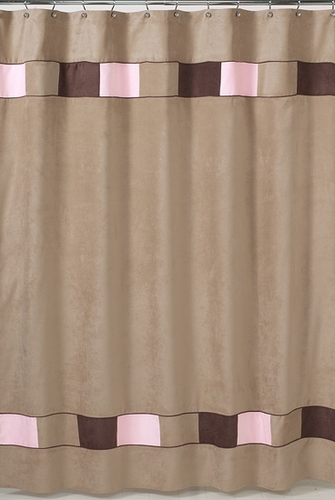 Soho Pink And Brown Kids Bathroom Fabric Bath Shower Curtain Only