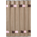 Soho Pink and Brown Kids Bathroom Fabric Bath Shower Curtain