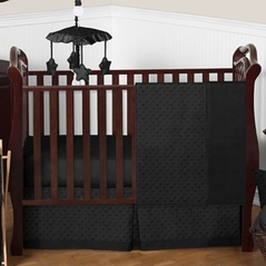 Solid Black Minky Dot Baby Bedding - 4pc Crib Set by Sweet Jojo Designs