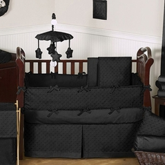 Solid Black Minky Dot Baby Bedding 9pc Crib Set By Sweet Jojo Designs