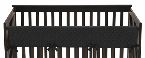 Solid Black Minky Dot Baby Crib Long Rail Guard Cover by Sweet Jojo Designs - Click to enlarge