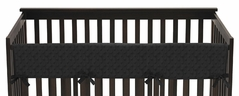Solid Black Minky Dot Baby Crib Long Rail Guard Cover by Sweet Jojo Designs